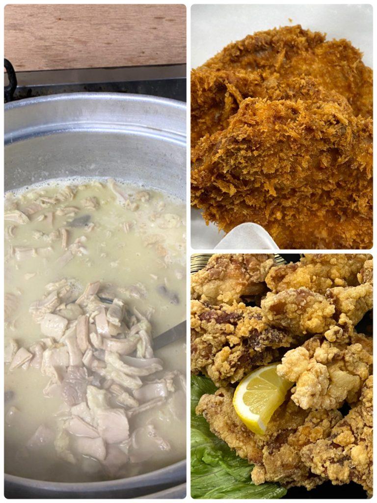 馬ホルモンの味噌煮込み、馬肉入りコロッケ、国産若鶏唐揚げ